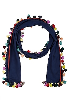 Blue Tassels Staple Scarf by Ka-Sha