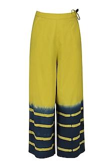 Lime Green Clamp Dyed Wide Legged Pants by Ka-Sha
