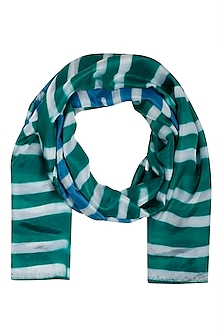 Green Stripe Dyed Colorblocked Scarf by Ka-Sha