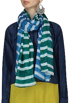 Green Stripe Dyed Colorblocked Scarf