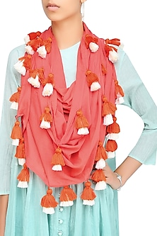 Pink Orange Scarf with Multicolor Tassel Hangings