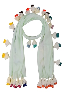 Mint Green Scarf with Multicolor Tassel Hangings by Ka-Sha
