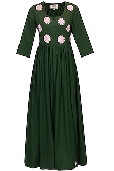 Emerald green and blush pink floral embroidered long dress by Ka-Sha