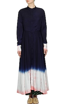 Navy resist dye effect crossover style dress by Ka-Sha