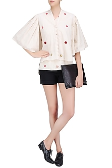 Off White Embroidered Flared Jacket with Pleated Bell Sleeves by Ka-Sha