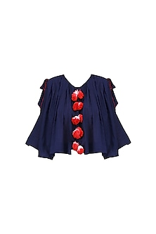 Navy Blue and Red Frilled Top by Ka-Sha