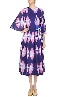 Purple Clamp Dyed Crossover Style Full Length Dress by Ka-Sha