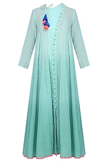Old Green Ombre Dyed Calf Length Chi Dress by Ka-Sha