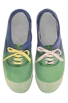 Forest Green and Blue Dip Dyed Canvas Shoes by Ka-Sha