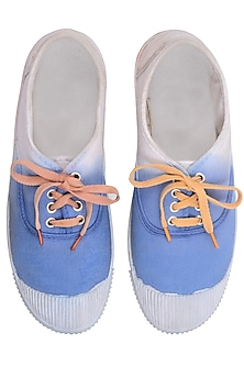 Ink Blue and White Dip Dyed Canvas Shoes by Ka-Sha