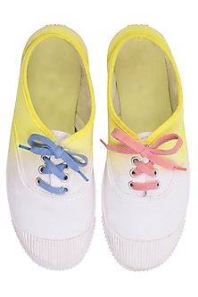 White and Yellow Dip Dyed Canvas Shoes by Ka-Sha