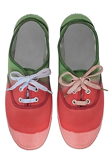 Forest Green and Pink Dip Dyed Canvas Shoes by Ka-Sha