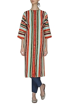 Salmon Striped Applique Work Tunic by Ka-Sha