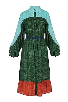 Green, Pale Blue and Red Hand Dyed Frilled Dress