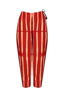 Red Stripe Dyed Fitted Pants by Ka-Sha