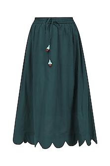 Bottle Green Scallop Midi Skirt