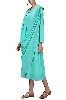 Aqua Blue Draped Dress by Ka-Sha