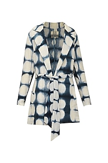 White and Indigo Blue Hand Clamp Dyed Trench Coat by Ka-Sha
