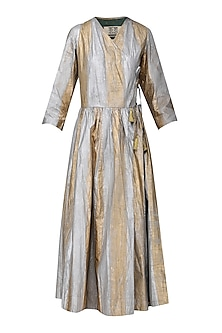 Gold and Silver Hand Painted Wrap Dress