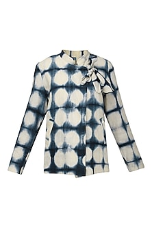 Indigo Blue Hand Clamp Crossover Neck Jacket by Ka-Sha