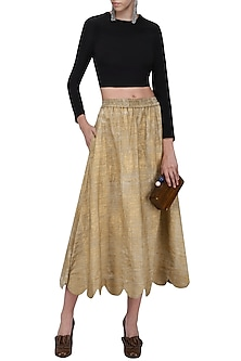 Gold Hand Painted Scalloped Midi Skirt by Ka-Sha