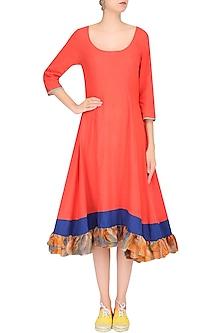 Orange Clamp Dyed Flared Asymmetric Dress by Ka-Sha