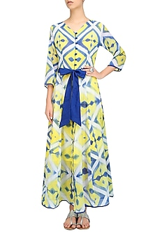 Yellow, White and Blue Clamp Dyed Calf Length Dress by Ka-Sha
