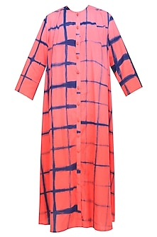 Pink Orange Ombre and Clamp Dyed Shirt Dress by Ka-Sha