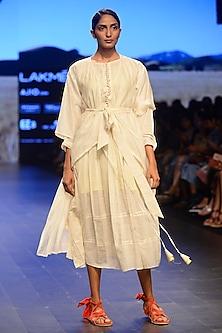 White Box Pleated Calf Length Dress by Ka-Sha