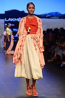 Off White Fagotting Panelled Skirt by Ka-Sha