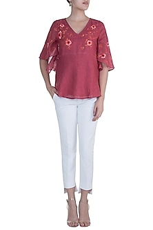 Pomegranate Red Embroidered Hand Screen Printed Top by Kaveri
