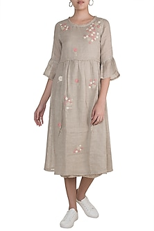 Beige Whimsical Floral Embroidered Dress by Kaveri