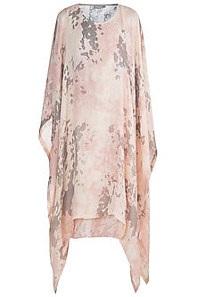 Dusty Rose & Beige Hand Screen Printed Tunic by Kaveri