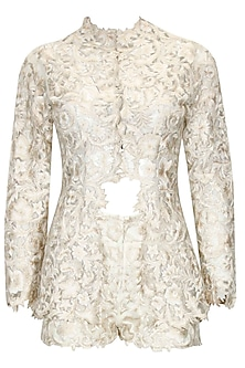 """Off white """"Edwardian"""" floral thread embroidered jacket and shorts set by Kartikeya"""