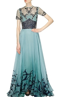 """Midnight blue """"Anna"""" floral embroidered jaal pattern flared gown by Kartikeya"""