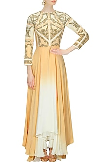 """Off white and beige ombre """"Racheal"""" floral embroidered gown by Kartikeya"""