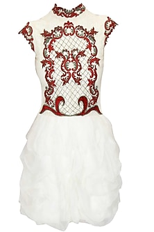 """Off white """"Georgia"""" and red floral embroidered jaal pattern dress by Kartikeya"""