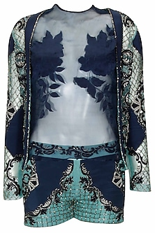 """Midnight blue """"Dayana"""" floral embroidered jaal pattern top, jacket and shorts set by Kartikeya"""
