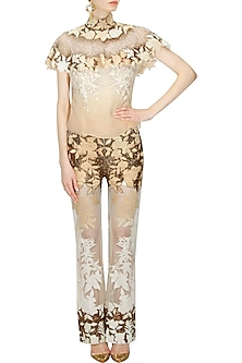 """Off white and beige ombre """"Wondsor"""" floral work top and pants set by Kartikeya"""
