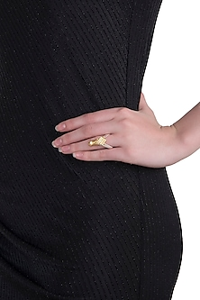 Gold and silver dual plated antler ring