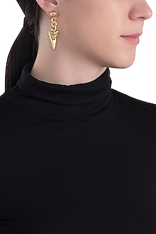 Gold plated shark tooth earrings