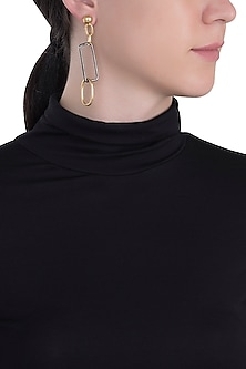 Gold plated mismatch shackle earrings