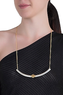 Gold and silver dual plated tube necklace