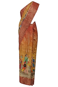 Rust and Yellow Ombre Shaded Saree with Unstitched Blouse Piece