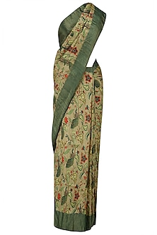 Beige Floral Print and Green Border Saree with Unstitched Blouse Piece