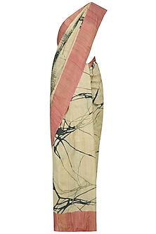 Beige Abstract Print Saree with Unstitched Blouse Piece