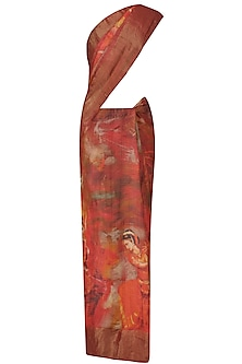 Red Human Print Saree with Unstitched Blouse Piece by Karma Designs