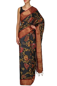 Dark Blue Floral Print Saree With Unstitched Blouse by Karma Designs