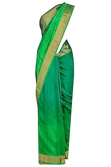 Sea Green and Parrot Green Shaded Handloom Saree