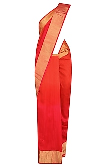 Red Printed Motifs Handloom Saree by Karma Designs